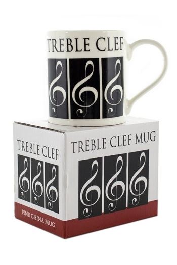 Little Snoring Treble Clef Mug – White On Black