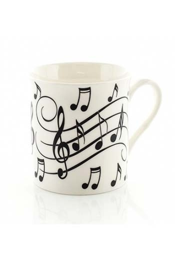 Little Snoring Music Notes Mug - Black On White