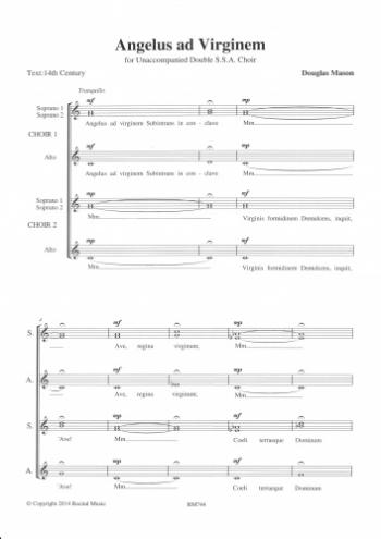 Angelus Ad Virginem: Vocal SSA Double Choir Unaccompanied