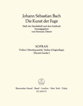 Art Of Fuge BWV1080 Violin I Part (version For String Quartet) (Barenreiter)