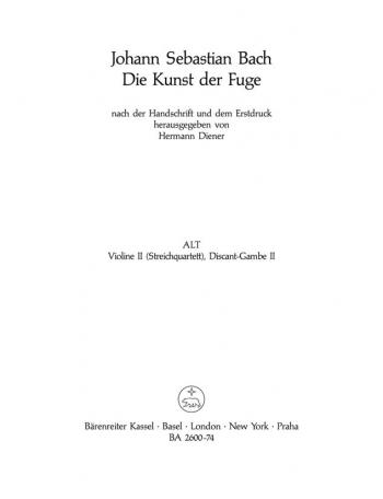 Art Of Fuge BWV1080 Violin II Part (version For String Quartet) (Barenreiter)