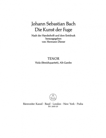 Art Of Fuge BWV1080  Viola Part (version For String Quartet) (Barenreiter)
