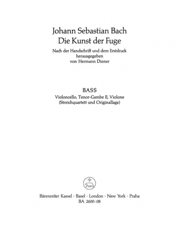 Art Of Fuge BWV1080  Cello Part (version For String Quartet) (Barenreiter)
