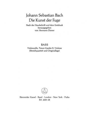 Art Of Fuge BWV1080  Cello Part (version For String Quartet) (Barenreiter)