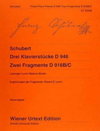 Three Piano Pieces: D946 & Two Fragments D916B/C Piano  (Wiener Urtext)