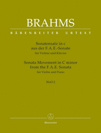 Sonata Movement  C Minor From The F-A-E Sonata: Violin & Piano  (Barenreiter)
