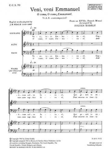 Veni, Veni (O Come, O Come, Emmanuel) Mixed Choir (SAB) A Cappella - Latin - English
