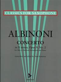 Alto Saxophone Concerto In D Minor, Op. 9/2 Alto Saxophone & Piano (arr Kynaston)
