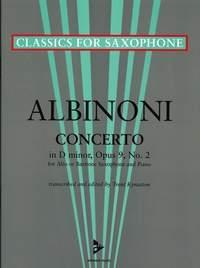 Alto Saxophone Concerto In D Minor, Op. 9/2 Alto Saxophone & Piano (arr Kynaston)