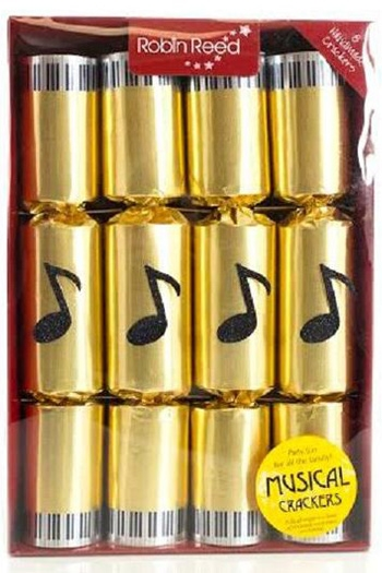 Christmas Crackers: Box Of 8 - Chimes (Gold Musical Note Design)
