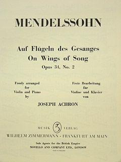 On Wings Of Song, Op.34/2 Violin & Piano