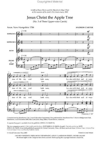Jesus Christ Apple Tree: No.3 Of Three Upper-voice Carols SSA