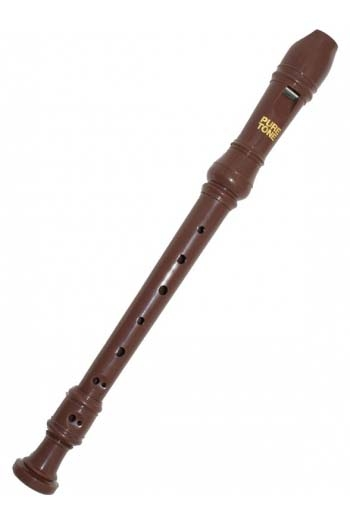 Descant Recorder Pure Tone Kids Brown With Carry Bag And Cleaning Stick