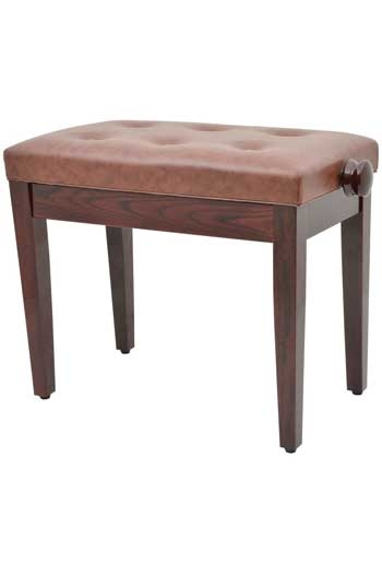 Polished Brown Adjustable Piano Stool