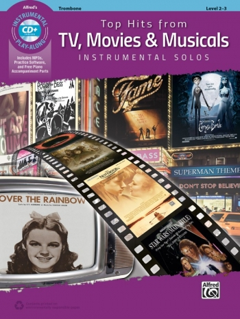Top Hits From TV, Movies & Musicals Instrumental Solos For Trombone Book & Cd