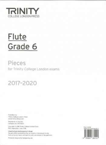 Trinity College London Flute Exam Pieces Grade 6 2017–2020 (Flute Part Only)