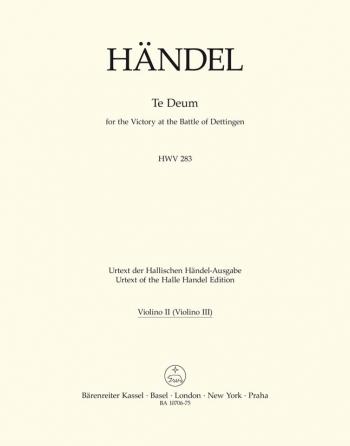 Dettinger Te Deum (HWV 283) (L) (Urtext) - Orch: Violin II (Barenreiter)