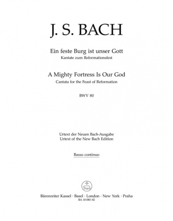 Cantata No. 80: Ein feste Burg (A Mighty Fortress is Our God) (BWV80) (Urtext).: Choral & Orchestra: