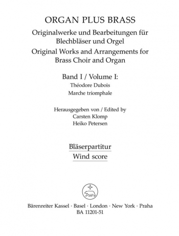 Organ Plus Brass Vol.1. : (wind score in C) : (Barenreiter)