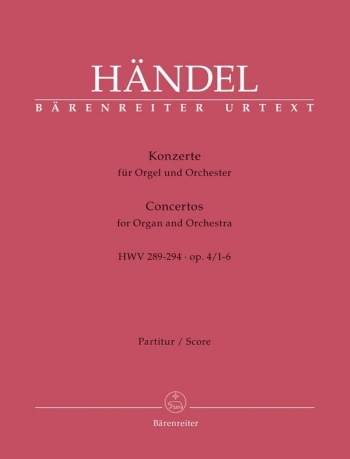 Concerto for Organ, Op.4/ 1 - 6 (HWV 289-294) (special price)      (Urtext) (includes 6 single score