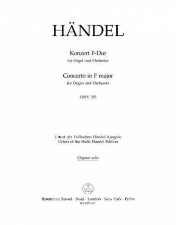 Concerto for Organ No.13 in F (HWV 295) (The Cuckoo and the Nightingale).: Organ: (Barenreiter)