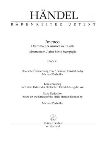 Imeneo (HWV 41) (It-G) (Urtext). : Vocal Score: (Barenreiter)