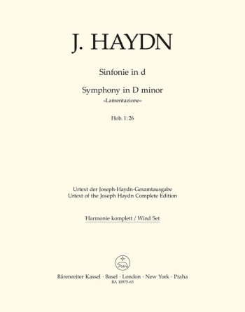 Symphony No. 26 in D minor (Lamentazione) (Hob.I:26) (Urtext). : Wind set: (Barenreiter)