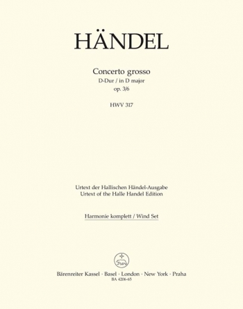 Concerto grosso Op.3/ 6 in D (Urtext). : Wind set: (Barenreiter)