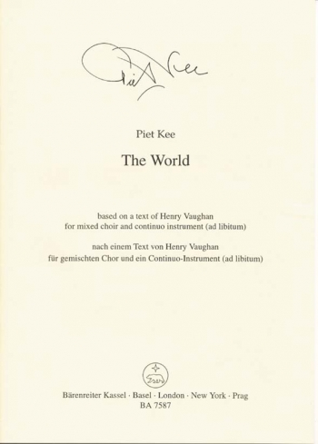 World, The (2000) (E). : Choral: (Barenreiter)