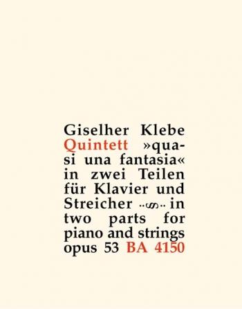 Piano Quintet quasi una fantasia, Op.53. : Mixed Ensemble: (Barenreiter)