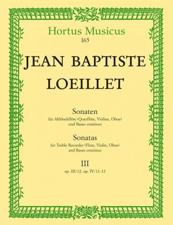 Sonatas (3), Vol. 3:(Op.3/12 E min; Op.4/11 C min; Op.4/12 A min). : Treble Recorder & Piano: (Baren