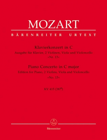 Concerto for Piano No.13 in C (K.415) (Urtext). : Mixed Ensemble: (Barenreiter)