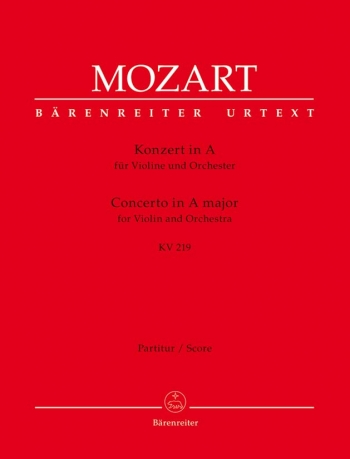 Concerto for Violin No.5 in A (K.219) (Urtext). : Large Score Paperback: (Barenreiter)