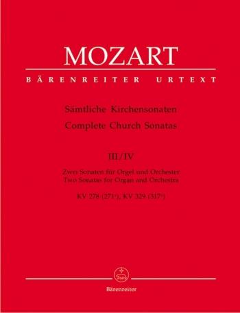 Church Sonatas, Vol. 3/4: (K.278, 329) (Urtext). : Large Score Paperback: (Barenreiter)