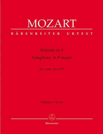 Symphony in F (K.Anh.223) (K.19a) (newly discovered) (Urtext). : Large Score Paperback: (Barenreiter