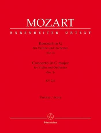 Concerto for Violin No.3 in G (K.216) (Urtext). : Large Score Paperback: (Barenreiter)