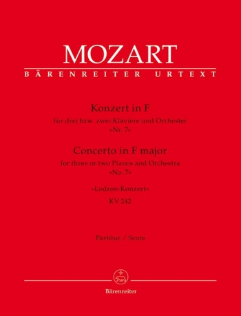 Concerto for Piano No. 7 in F (for 2 or 3 Pianos) (K.242) (Urtext). : Large Score Paperback: (Barenr