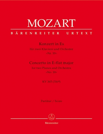 Concerto for Piano No.10 in E-flat (Two Pianos & Orchestra) (K.365) (Urtext): Large Score Paperback: