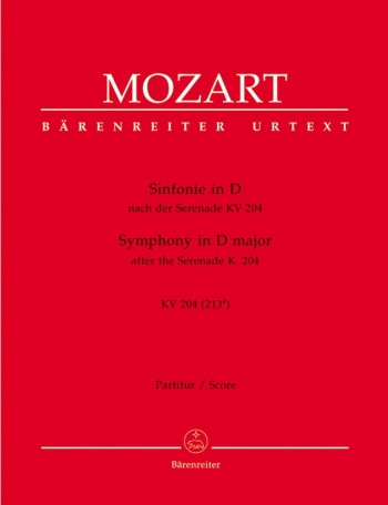 Symphony in D (K.204) (K.213a) after the Serenade (K.204) (Urtext). : Large Score Paperback: (Barenr