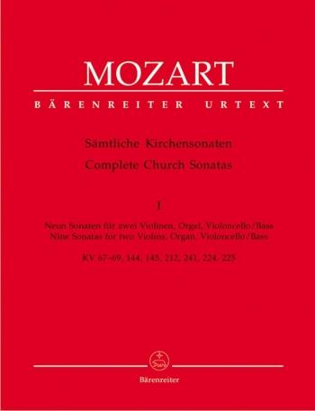 Church Sonatas, Vol. 1: (K.67-69, 144, 145, 212, 224, 225, 241) (Urtext).: Score & parts: (Barenreit