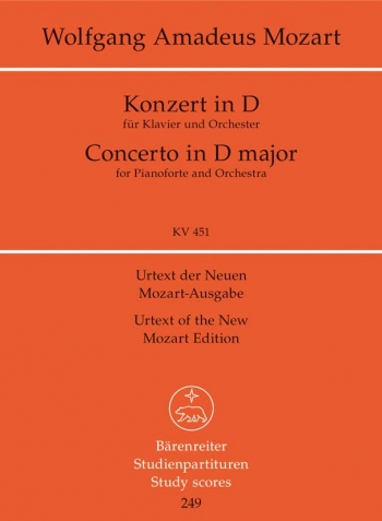 Concerto for Piano No.16 in D (K.451) (Urtext) Study score (Barenreiter)
