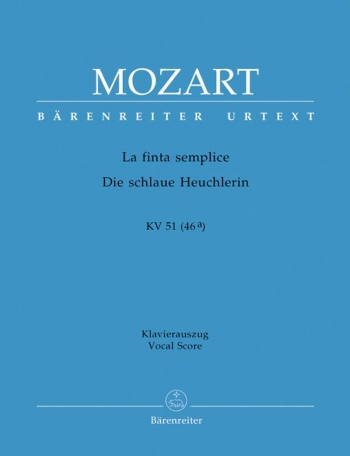 La Finta semplice (complete opera) (It) (K.51) (K.46a) (Urtext). : Vocal Score: (Barenreiter)