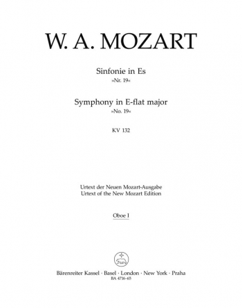 Symphony No.19 in E-flat (K.132) (Urtext). : Wind set: (Barenreiter)