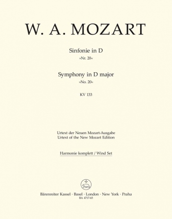 Symphony No.20 in D (K.133) (Urtext). : Wind set: (Barenreiter)