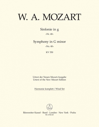 Symphony No.40 in G minor (K.550) (Urtext). : Wind set: (Barenreiter)
