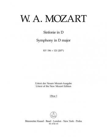 Symphony in D (K.196/121) (Urtext). Overture from 'La finta giardiniera'.: Wind set: (Barenreiter)