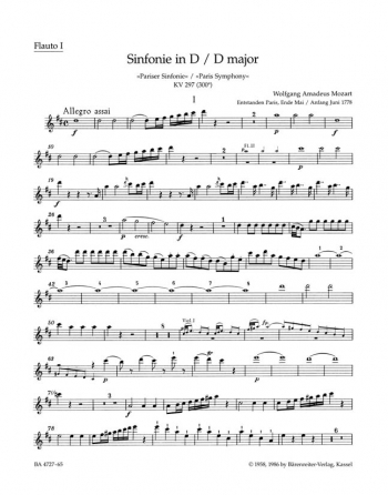 Symphony No.31 in D (K.297) (K.300a) (Paris) (Urtext). : Wind set: (Barenreiter)