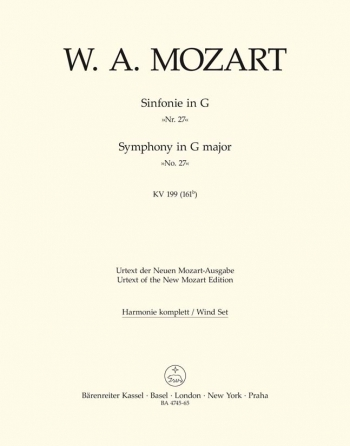 Symphony No.27 in G (K.199) (K.161b) (Urtext). : Wind set: (Barenreiter)