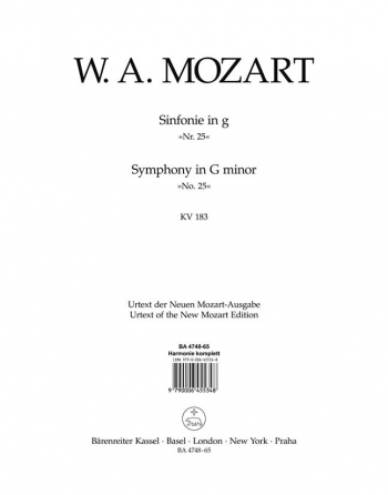 Symphony No.25 in G minor (K.183) (K.173dB) (Urtext). : Wind set: (Barenreiter)