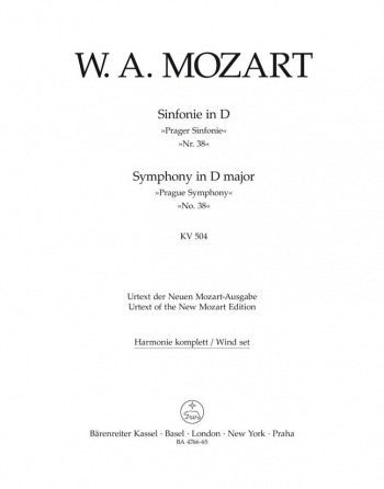 Symphony No.38 in D (K.504) (Prague) (Urtext). : Wind set: (Barenreiter)